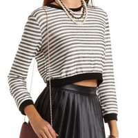 Cropped & Striped Sweatshirt by Charlotte Russe