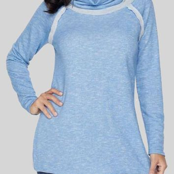 New Light Blue Patchwork Embellished Cowl Neck Ruche Long Sleeve Cotton Sweatshirt