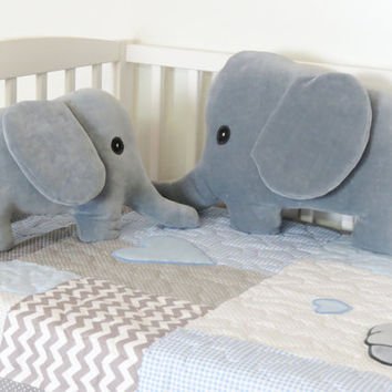 Elephant Pillows, Gray Plush Jungle Animal, Stuffed Elephant, Baby Gift
