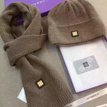 Givenchy Beanies Winter Knit Hat Cap Cape Scarf Scarves Set Two-Piece
