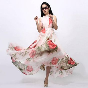 Women Summer Beach Maxi Floral Casual Beach Party Sleeveless Chiffon Long Dress