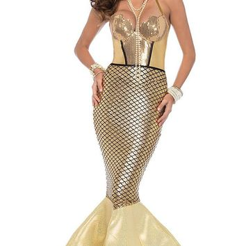 Shining Mermaid Gold Sleeveless Spaghetti Strap Metallic Backless Halter Bodycon Fishtail Maxi Dress Halloween Costume
