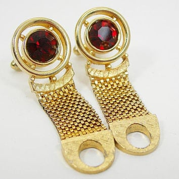 Mens Red Cufflinks, Red Rhinestone, Goldtone Mesh, Dress Cufflinks, Vintage 1960s Man's Accessory, Gift for Groom, Best Man, Valentine's Day