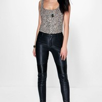 Loren Biker Leather Look Skinny Trousers