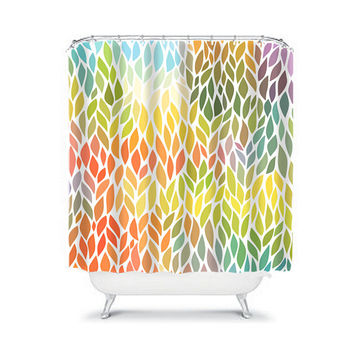 Colorful Shower Curtain Flower Petal Leaf Vine Rainbow Colors Floral Pattern Bathroom Bath Polyester Made in the USA