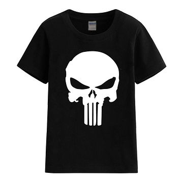 T-shirts for boys clothes 2017 summer 100% cotton SKULL printed streetwear hip hop T-shirt for girl baby clothing top tee shirt