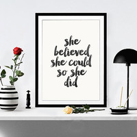 "Watercolor Print ""she believed she could so she did"" room wall art print inspiration room wall art home office decor INSTANT DOWNLOAD POSTER"