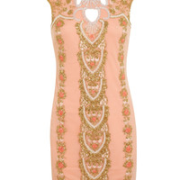 Cut Out Embellished Bodycon - Dresses - Clothing