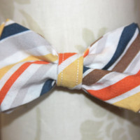 White Striped Adjustable Bowtie (Baby / Infant / Toddler Boy)