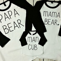 Mama Bear, Papa Bear, Man Cub raglan set - baby shower gift