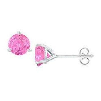 Sterling Silver Martini Style Created Pink Sapphire Stud Earrings with 2.00 CT TGW