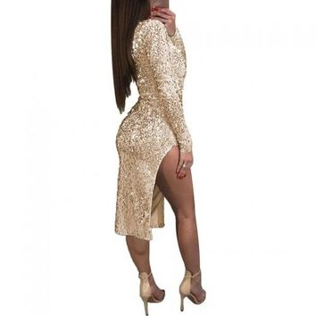Deep V Open Chest Sequined Split Bodycon Dress