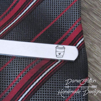 Groomsmen Coffee Cup, Coffee Cup for Boyfriend, Coffee Tie Clip, Coffee Wedding Gifts, Groom Tie Clip Gift, Personalized Tie Clip for Groom