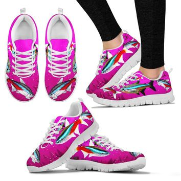 Neon Tetra Fish Print Christmas Running Shoes For Women- Free Shipping