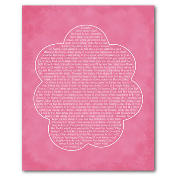 Because I'm Happy - Inspirational Wall Art - Room Decor - Full Song Lyrics - Pharrell Williams - Happy Song -  Typography Word Art Print