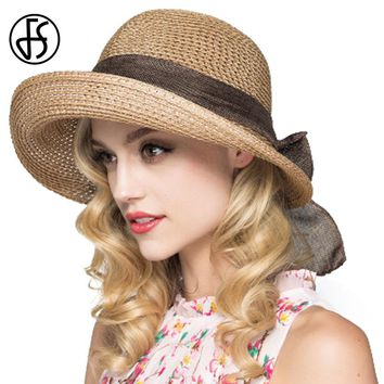 FS Womens Summer Hats Fashionable 2017 Straw Beach Sunbonnet Wide Brim Floppy Cloche Sun Hat  Vacation Hat Elegant Style