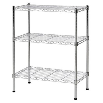 "Sandusky WS241430 Heavy Duty Steel Adjustable Wire Shelving, 24"" Width x 30"" Height x 14"" Depth, 3 Shelves, Chrome"
