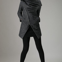 Black coat Winter wool coat warm jacket  (735)