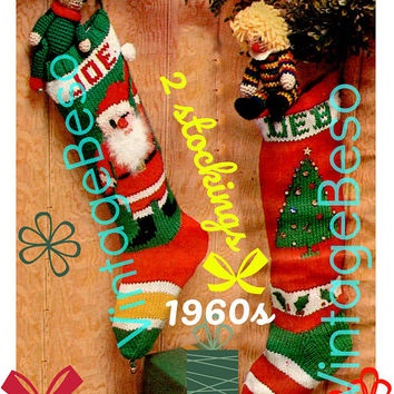 "2 Patterns • Knit Christmas STOCKING Patterns • Vintage 1960s ""Santa"" Stocking and ""Tree"" Stocking Pattern • PDF Pattern • DIGITIAL Pattern"