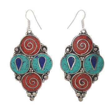 Four circles coral turquoise earrings