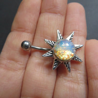 Light Opal Starburst Belly Button Ring Navel Piercing Silver Sun Stud Bar Barbell Star Burst Sunburst