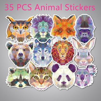 Top Sale 35Pcs/pack Fashion Diamond Animal Funny Sticker Decal for Car Suitcase Laptop Notebook Waterproof Stickers Decoration (