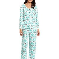 White Orchid Women's Alpine Forest Button Front Pajama Set