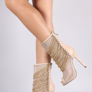 Liliana Chain Accents Netted Mesh Stiletto Boots