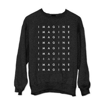 Imagine Dragons Stacked Letters Crewneck Fleece Sweatshirt | Imagine Dragons