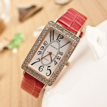 women s rectangular face rhinestone watches with leather band strap red 2