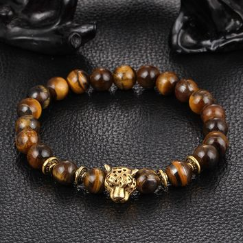 NEWBUY Dropship Gold-color Leopard Head Lava Stone Bead Buddha Bracelet For Men Fashion Male Punk Jewelry Bracelets & Bangles