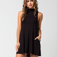 SOCIALITE Ribbed Sleeveless Mock Neck Dress