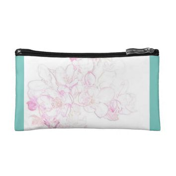 Turquoise Pink Rose Cosmetic Bag