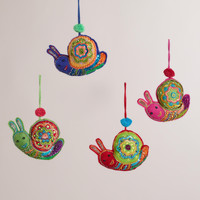 Sequined Felt Snail Ornaments, Set of 4 - World Market