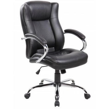 Black Thick Padded Mid Back PU Leather Ergonomic Office Chair with Neck Support and Arms