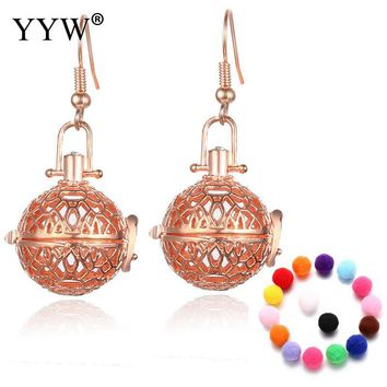 New Essential Oil Diffuser Earring Locket for Woman Harmony Ball Earring Brass hollow Parfum Women Perfume
