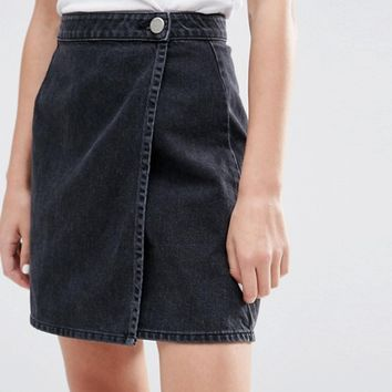 ASOS Denim Wrap Skirt in Washed Black at asos.com
