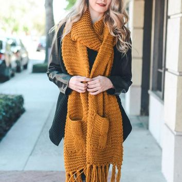 Knit Pocket Scarf - Mustard
