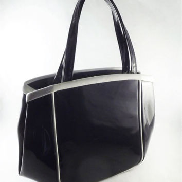Black and White Patent Leather Handbag, Vintage Mod Black Bag, Black Purse