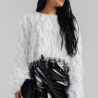 Long Sleeve Fluffy Cropped Net Sweater in Black, Blush, Off White