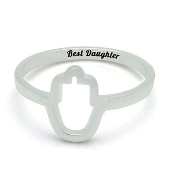 """Silver Hamsa Daughter Ring - Tiny Silver Ring for Daughter Engraved on Inside with """"Best Daughter"""", Ring Sizes 6 to 9"""