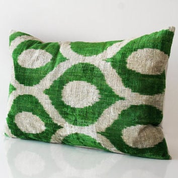 "Ikat Velvet Pillows-15""x23"" Handwoven Velvet Ikat,Cushion Covers,Lumbar Ikat, Throw Pillow, Decorative Pillowcase, Silk Velvet Green Cream"