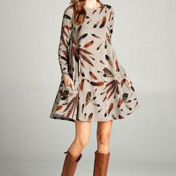 Walk This Way Feather Print Dress