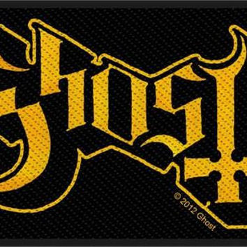 Ghost Sew On Patch Gold Letters Logo