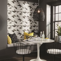 York Underground Embossed Black Gray Brick Wallpaper