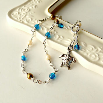 Beach Anklet, Summer Ankle Jewelry, Sea Turtle Charm, Feminine Ankle Bracelet, Ocean Inspired