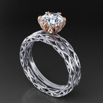 14k Engagement set, two tone rose and white 14k gold, center stone 1 carat moissanite bridal set