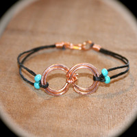 Turquoise Double Infinity Wire Wrapped Bracelet, Infinity Waxed Cord Bracelet, Friendship Bracelet, Handmade