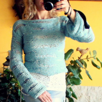 Rustic Blue Cropped Top Handmade Sweater Women Clothing Hippie Sweater Indie Sweater Blue Unique Jumper Vegan Sweater