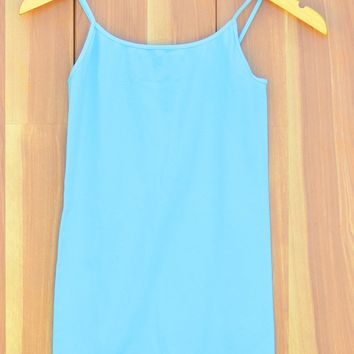 Ice Blue Basic Layering Cami-Niki Biki Long Tank-Banana-$25.00 | Hand In Pocket Boutique